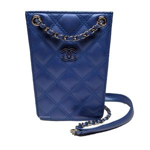 Chanel Blue Quilted iPhone Crossbody Bag